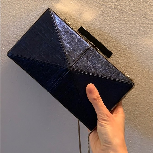 French Connection metallic blue clutch